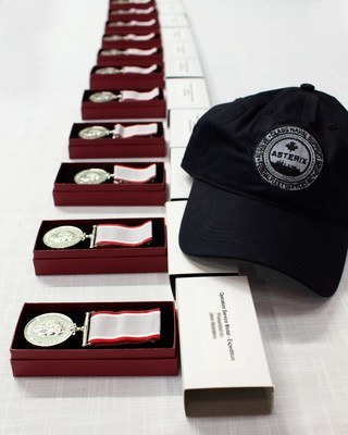 The OSM-EXP medals were presented to the crew by Commodore Rich Feltham, Commander Canadian Fleet Atlantic at a socially distanced ceremony on board the m/v Asterix in Halifax, Nova Scotia. (CNW Group/Federal Fleet Services)