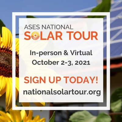 The forms are now open to sign up your Local Solar Tour or Solar Site on the National Solar Tour! The largest grassroots solar event will happen virtually and in neighborhoods near you, October 2-3, 2021, but you can host your Local Solar Tour or Solar Site anytime throughout the year. The deadline to sign up your Local Solar Tour or Solar Site is August 15. Learn more at nationalsolartour.org.