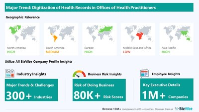 Snapshot of BizVibe's offices of health practitioners industry group and product categories.