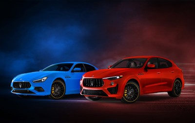 Maserati celebrates its racing past with the F Tributo Special Edition Photo: Left - Ghibli in Azzurro Tributo and Right - Levante Rosso Tributo