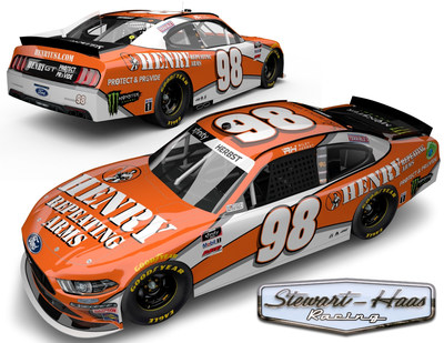 Henry Repeating Arms is sponsoring Riley Herbst with a Tony Stewart inspired throwback paint scheme for Darlington. (Image from Stewart-Haas Racing)
