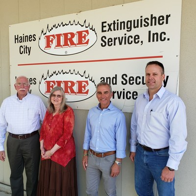 L-R: Michael and Donna Willis, owners of Haines City Fire, PBFS VP of Business Development Chuck Reimel, and Stephen Stanek, VP of Haines City Fire