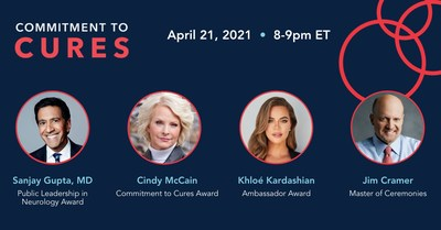 """The American Brain Foundation's (ABF) Commitment to Cures 2021 annual gala will take place virtually on April 21, 2021, 8-9 p.m. ET to support the researchers and advocates working toward life without brain disease. The event will honor Sanjay Gupta, MD; Cindy McCain; and Khloé Kardashian—each of whom has made an impact on raising awareness for brain disease research. Jim Cramer, host of CNBC's """"Mad Money"""", will reprise his role as Master of Ceremonies, with the addition of a musical performance"""