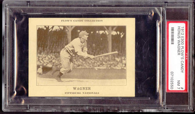 """Honus Wagner from the 1912 Plow's Candy Baseball Cards Set (E300). This ONE and ONLY card takes rarity to the limit and is rated by PSA as a 7 in """"near mint"""" condition."""