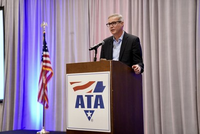American Trucking Associations President and CEO Chris Spear addresses the association's Board of Directors May 18, during the 2021 ATA Mid-Year Management Session in San Antonio, Texas.
