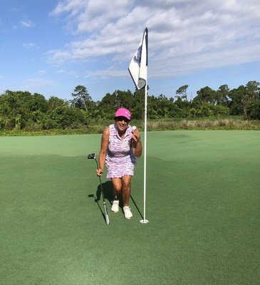 Patsy Harris, played the golf game of a lifetime when she scored two hole-in-ones, in one round on the Pete and P.B. Dye designed River Ridge Golf Course at Harbour Ridge Yacht & Country Club. What are those odds? 67 million to 1 to be exact.