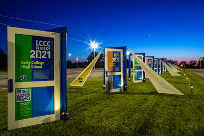 """Lorain County Community College celebrates the graduating class of 2021 with the """"Doors of Opportunity"""" tribute. Twenty-one full sized doors line a grassy median stretching nearly 450 feet – longer than a football field – and symbolize of the unique journey each LCCC student took to reach graduation day."""