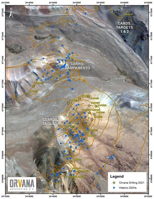 Figure 2. Taguas Plan Map with DDH Collars (CNW Group/Orvana Minerals Corp.)