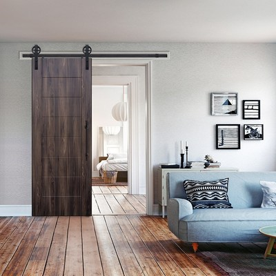 The new 3D laminated barn doors feature 19 different textures and colors. Mimosa Wood Grain Pictured.