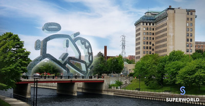 """Project Lifeline by Mike Han in collaboration with Albin Thomas featured at the Superworld """"Digital See"""" exhibit at the Flint Water Festival."""